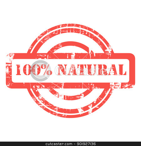 100% Natural stamp stock photo, 100% natural used red grunge stamp isolated on white background. by Martin Crowdy