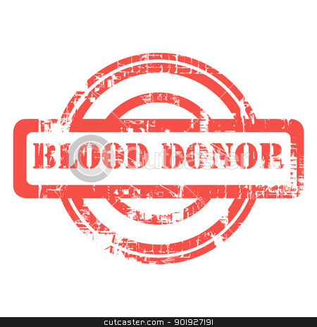 Blod donor red used grunge stamp stock photo, Blood donor used red grunge stamp isolated on white background. by Martin Crowdy