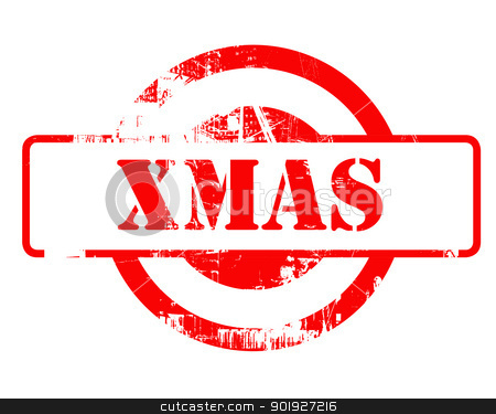 Xmas red stamp stock photo, Xmas or Christmast red stamp with copy space isolated on white background. by Martin Crowdy
