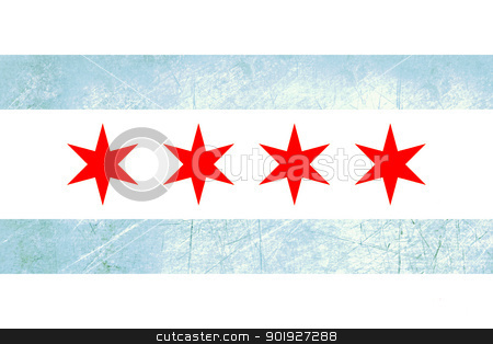 Grunge Chicago flag stock photo, Grunge Chicago city flag, state of Louisiana, U.S.A.  by Martin Crowdy