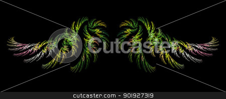 Abstract Fractal Art Winged Object stock photo, Abstract Fractal Art Multi Color Wings on Black Background  by Snap2Art