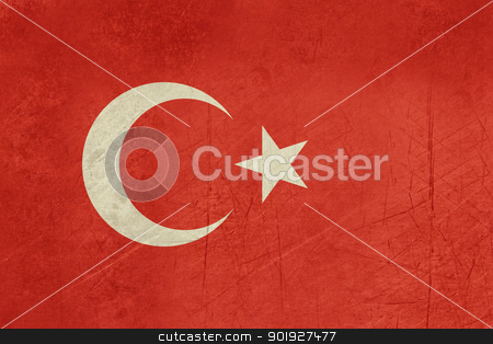 Grunge Turkey Flag stock photo, Grunge sovereign state flag of country of Turkey in official colors.  by Martin Crowdy