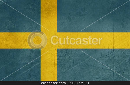 Grunge Sweden Flag stock photo, Grunge sovereign state flag of country of Sweden in official colors.  by Martin Crowdy