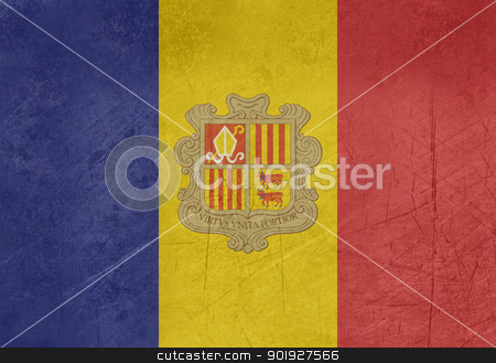 Grunge Andorra Flag stock photo, Grunge sovereign state flag of country of Andorra in official colors. by Martin Crowdy