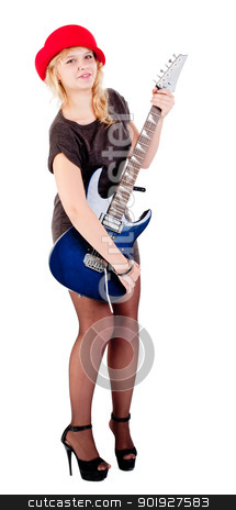Attractive girl with guitar stock photo, Young beautiful woman with electric guitar. Isolated on white by Aikon