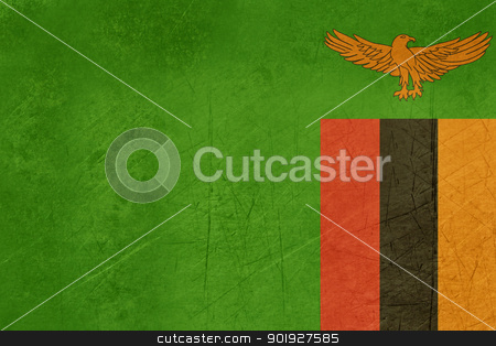 Grunge Zambia Flag stock photo, Grunge sovereign state flag of country of Zambia in official colors.  by Martin Crowdy