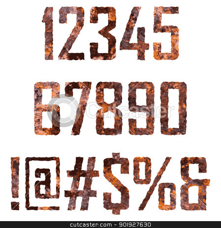 Rusted letters stock vector clipart, Rusted digits and symbols by vtorous