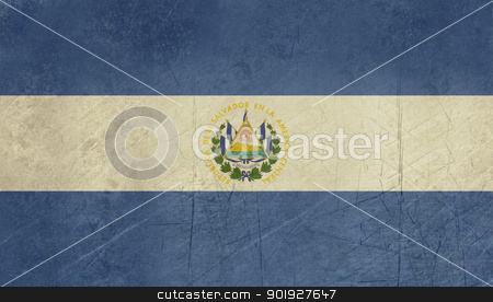 Grunge El Salvador flag stock photo, Grunge sovereign state flag of country of El Salvador in official colors. by Martin Crowdy