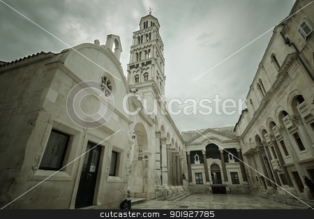 Peristyle in Split stock photo, Sepia HDR of the peristyle and clock tower with dark clouds above in Split, Croatia by Paul Prescott