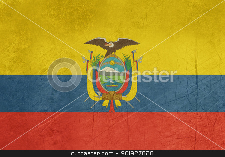 Grunge Ecuador flag stock photo, Grunge sovereign state flag of country of Ecuador in official colors. by Martin Crowdy