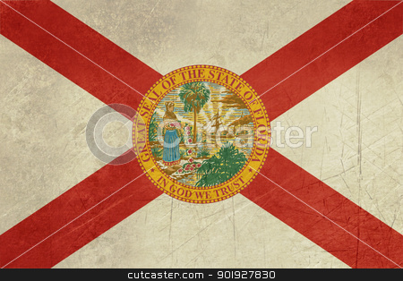 Grunge Florida state flag stock photo, Grunge Florida state flag of America, isolated on white background. by Martin Crowdy