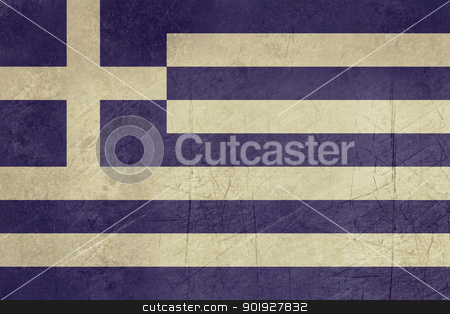 Grunge Greece Flag stock photo, Grunge sovereign state flag of country of Greece in official colors. by Martin Crowdy