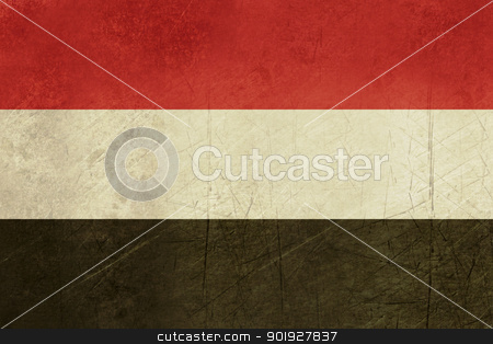 Grunge Yemen Flag stock photo, Grunge sovereign state flag of country of Yemen in official colors.  by Martin Crowdy