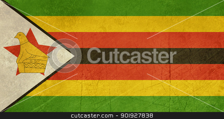 Grunge Zimbabwe Flag stock photo, Grunge sovereign state flag of country of Zimbabwe in official colors.  by Martin Crowdy