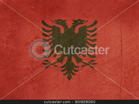 Grunge Albania Flag stock photo, Grunge sovereign state flag of country of Albania in official colors. by Martin Crowdy