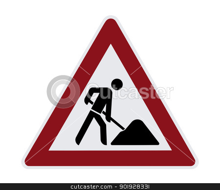 Construction Sign stock photo, This image shows a isolated construction sign by kirschner