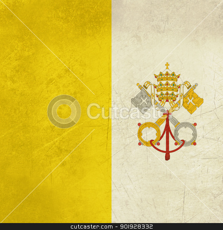 Grunge Vatican City Flag stock photo, Grunge sovereign state flag of country of Vatican City in official colors.  by Martin Crowdy