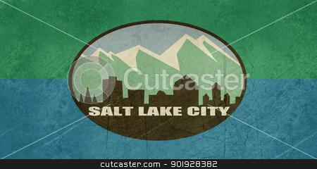 Grunge Salt Lake city flag stock photo, Grunge city flag of Salt Lake city in the U.S.A.  by Martin Crowdy
