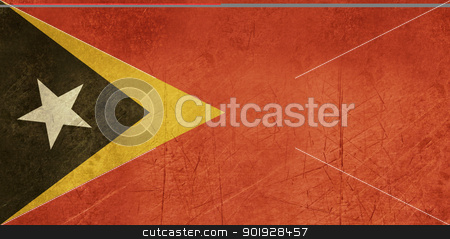 Grunge East Timor flag stock photo, Grunge sovereign state flag of country of East Timor in official colors. by Martin Crowdy