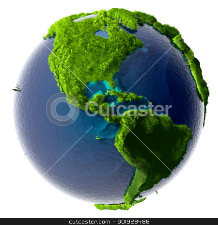 Green Planet Earth stock photo, Earth with a pure transparent ocean is completely covered with lush green grass - a symbol of a clean environment, rich in natural resources and good environmental conditions by Antartis