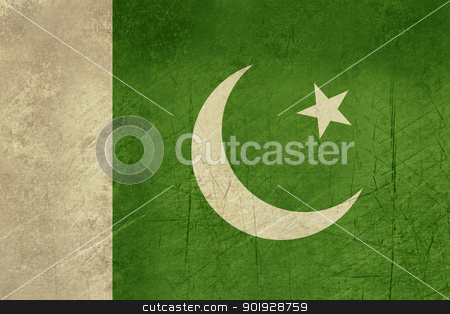 Grunge Pakistan flag stock photo, Grunge sovereign state flag of country of Pakistan in official colors. by Martin Crowdy