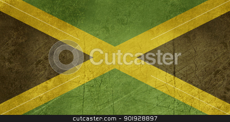Grunge Jamaica Flag stock photo, Grunge sovereign state flag of country of Jamaica in official colors. by Martin Crowdy