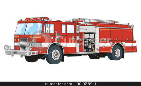 rescue trucks stock vector clipart, trucks equipped for rescue and fire fighting by Alfio Roberto Silvestro