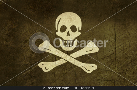 Grunge Jolly Roger flag stock photo, Illustration of grunge jolly roger or skull and cross bones pirate flag. by Martin Crowdy