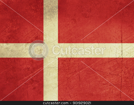 Grunge Denmark Flag stock photo, grunge sovereign state flag of country of Denmark in official colors. by Martin Crowdy