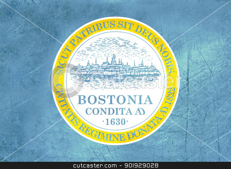 Grunge Boston city flag stock photo, Grunge city flag of Boston city in the U.S.A.  by Martin Crowdy