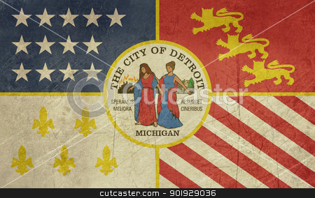 Grunge Detroit city flag stock photo, Grunge city flag of Detroit city, Michigan in the U.S.A by Martin Crowdy