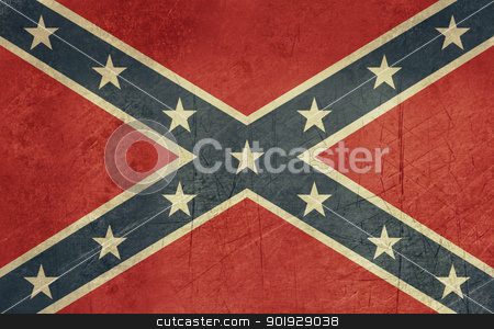 Grunge Confederate Flag stock photo, Confederate rebel grunge flag of southern America in official colors. by Martin Crowdy