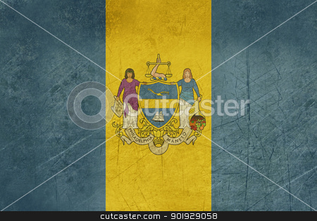 Grunge Philadelphia city flag stock photo, Grunge flag of Philadelphia city in the U.S.A  by Martin Crowdy
