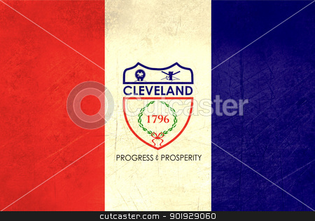 Grunge Cleveland city flag stock photo, Grunge flag of Cleveland city, Ohio in the U.S.A  by Martin Crowdy