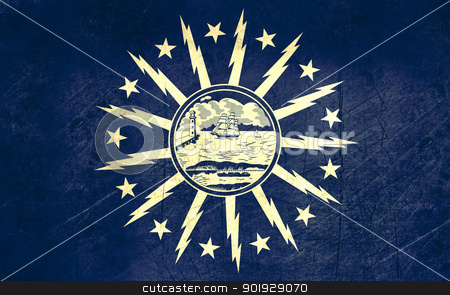 Grunge Buffalo City flag stock photo, Grunge flag of Buffalo city in the U.S.A  by Martin Crowdy