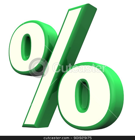 Green Percent Symbol stock photo, Green per cent symbol  on the white background. by Alexander Limbach