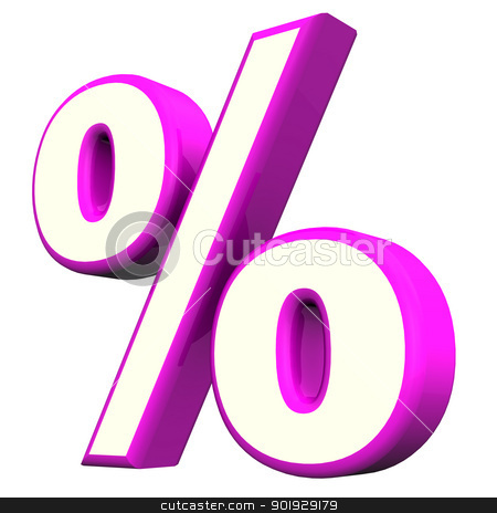 Purple Percent Symbol stock photo, Purple per cent symbol  on the white background. by Alexander Limbach