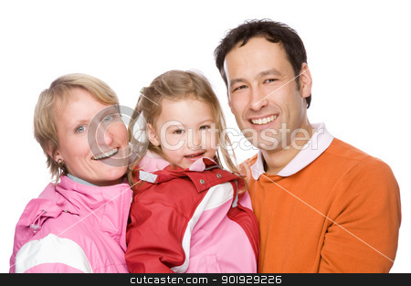 Young family stock photo, Full isolated studio picture from a young couple with her daughter by Picturehunter