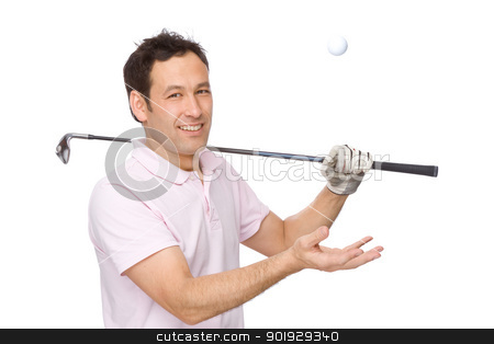 The golf player stock photo, Full isolated studio picture from a golf player by Picturehunter