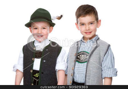 The two boys stock photo, Full isolated studio picture from two litte bavarian boys by Picturehunter