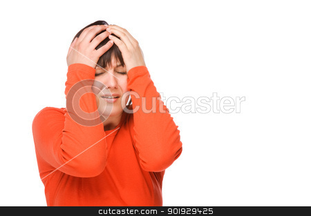 Woman with headache stock photo, Young woman having some headache. Full isolated studio picture by Picturehunter