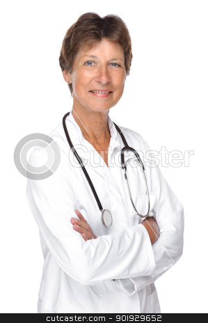 Senior doctor stock photo, Full isolated portrait of a senior doctor by Picturehunter