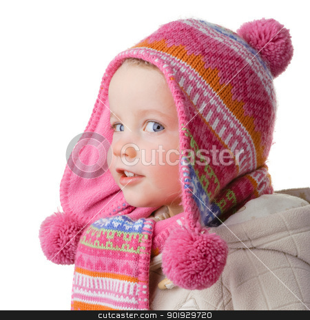 Little girl  stock photo, Full isolated studio picture from a young girl with winter clothes by Picturehunter