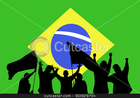 Sport fans stock photo, Silhouette from some sport fans in front of the flag from brazil by Picturehunter