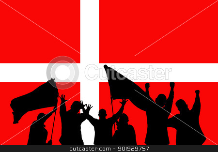 Sport fans stock photo, Silhouette from some sport fans in front of the flag from denmark by Picturehunter
