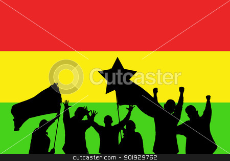 Sport fans stock photo, Silhouette from some sport fans in front of the flag from ghana by Picturehunter