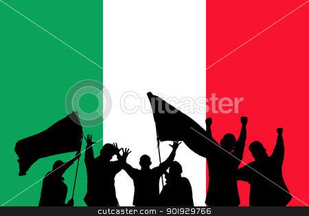 Sport fans stock photo, Silhouette from some sport fans in front of the flag from italy by Picturehunter