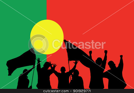 Sport fans stock photo, Silhouette from some sport fans in front of the flag from portugal by Picturehunter