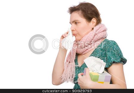 Woman with handkerchief stock photo, Full isolated portrait of a woman with a handkerchief by Picturehunter