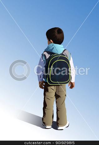 Little student stock vector clipart, Little student is going to kindergarten by Seyyah